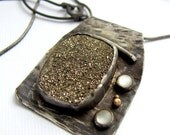 Druzy necklace golden moonbeam druzy pendant reserved for LLBO
