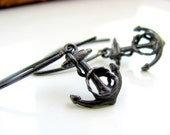 Oxidized sterling silver anchor earrings