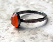 Faceted carnelian and silver solitaire ring- size 6 and a half