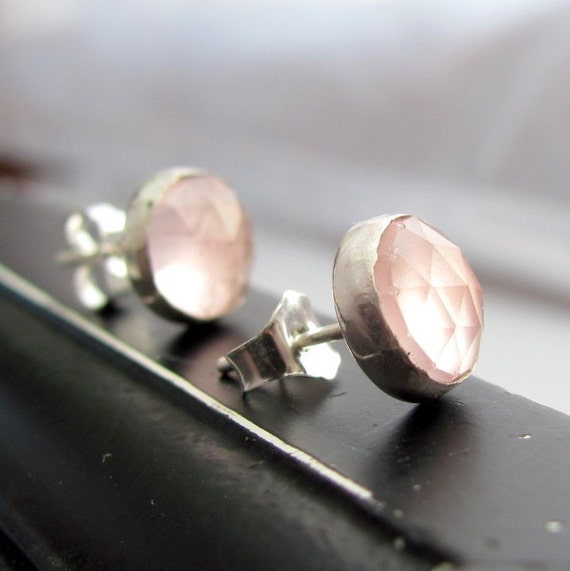 20% off Storm sale Handmade sterling silver and faceted rose quartz stud earrings