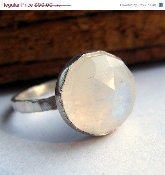 20% off sale Faceted rainbow moonstone ring handmade sterling silver ring