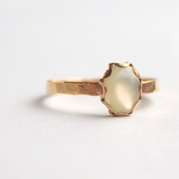 Handmade 14K gold filled white mother of pearl ring size 6 and a half