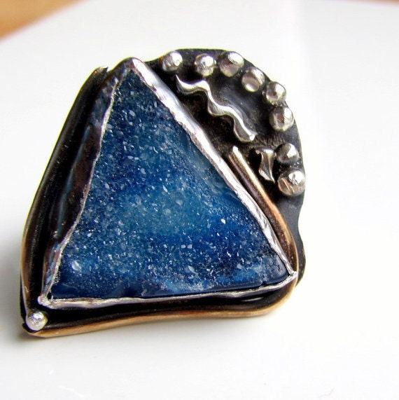 Cobalt blue druzy ring handmade mixed metal abstract ring size 7 and a half Art jewelry cocktail ring