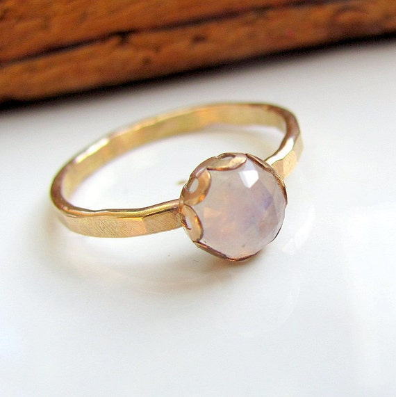 Handmade 14K gold filled and faceted rainbow moonstone ring -size 6 and a half