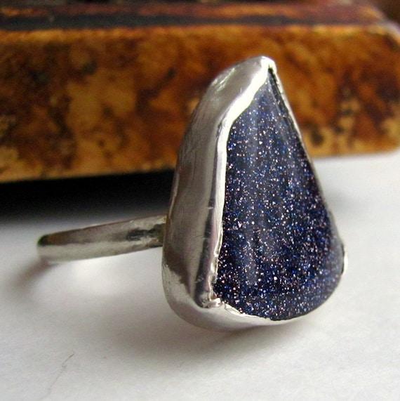 Handmade sterling silver Blue goldstone- size 8