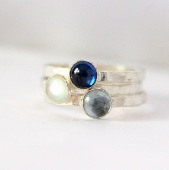 White moonstone blue sapphire aquamarine stacking ring set made to order birthstone rings