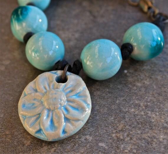 Blue Ceramic Flower Bracelet