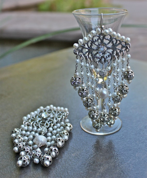 One of a Kind Sterling Silver and Freshwater Pearl Statement Earrings - Romantic