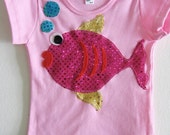 Children's  cotton tshirt- Sparkle Fish - Size 2,4, 6, 8, 10 or 12 years