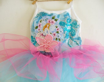 BUTTERFLY FAIRY Leotard TUTU- Size 12/18 months, 2/4 years,4/6 years or 6/8 years up to adult sizes