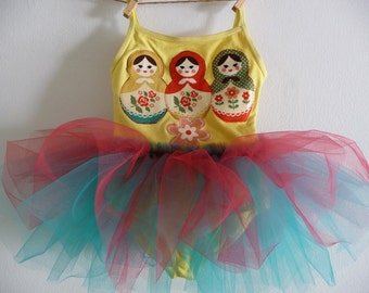 MATRYOSHKA DOLLS Leotard Tutu- Size 18/24  months, 2/4 years, 4/6 years, 6/8 years up to adult sizes