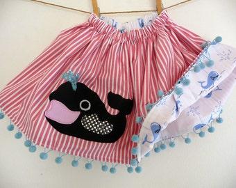 WHALE REVERSIBLE SKIRT- Whale Skirt- Under The Sea Birthday Skirt