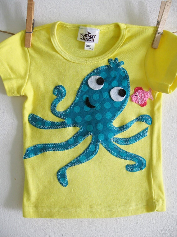Polka Dot Octopus Princess of the Sea Children's Cotton Tee- Under the Sea tshirt - Octopus Tshirt - Sizes infant, 2, 4, 6, 8, 10, 12
