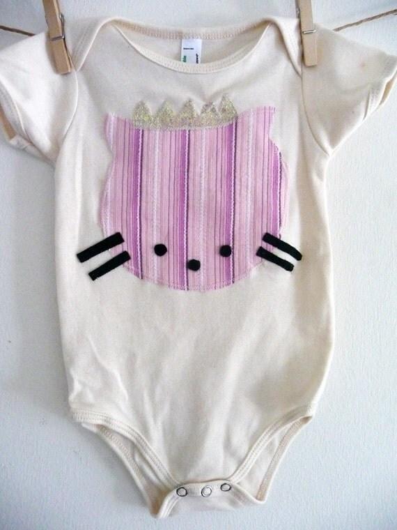 CAT ONESIE- Organic Cotton Princess Kitty Onesie- Size 3/6 months, 6/12 months, 12/18 months or 18/24 months