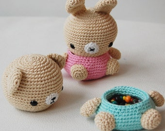 Amigurumi Crochet Pattern - Bear and Bunny Box