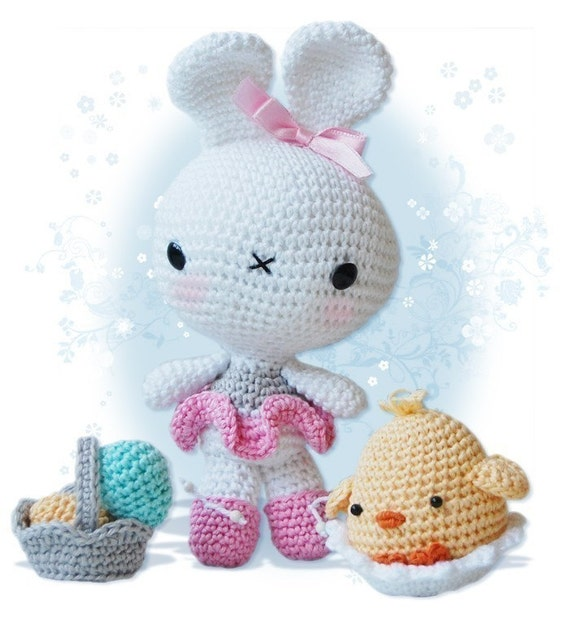 Amigurumi Crochet Pattern - Bunny and Chick in an Egg Shell