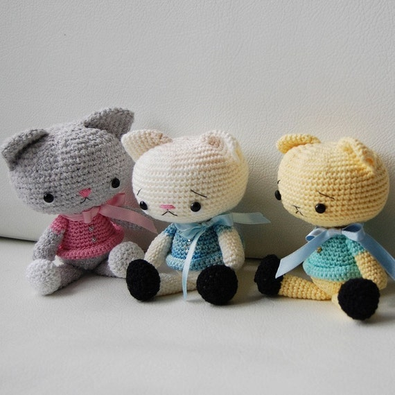 Crochet Patterns Etsy : Amigurumi Pattern Spanky the Cat by pepika on Etsy