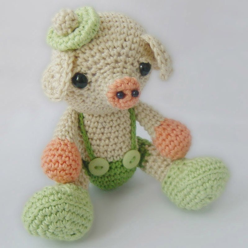 Amigurumi Crochet Pattern Little Pig Softie Plush