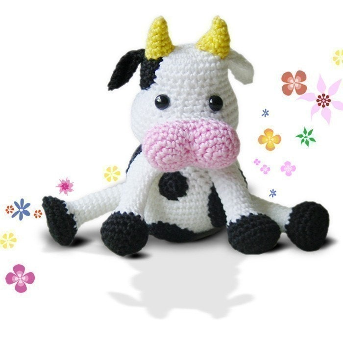 Amigurumi Animals For Beginners : Amigurumi Crochet Cow Pattern Happy Cow