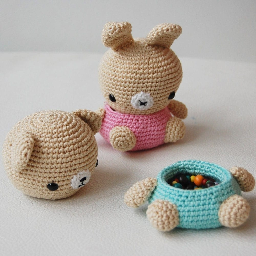 Crochet Amigurumi : Amigurumi Crochet Pattern Bear and Bunny Box by pepika on Etsy