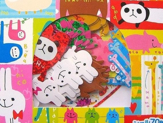 Cute Japanese Sticker Flakes Yuru Animals By Mind Wave (S730)