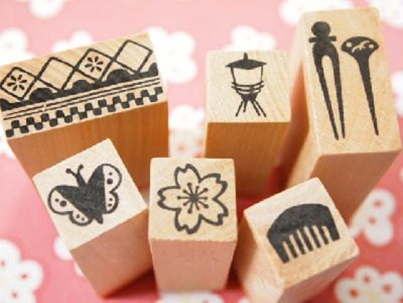 Beautiful Japanese Rubber Stamps in Furoshiki Gion Entertainment District