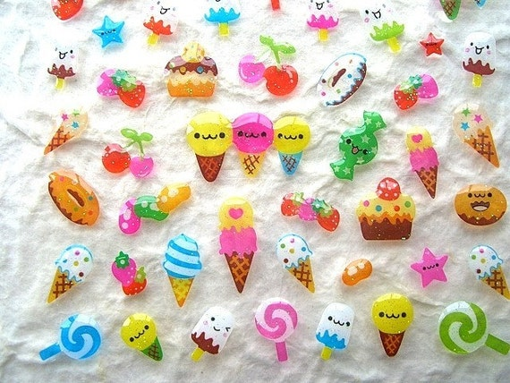Cute Puffy Japanese Sweets Stickers (S409)
