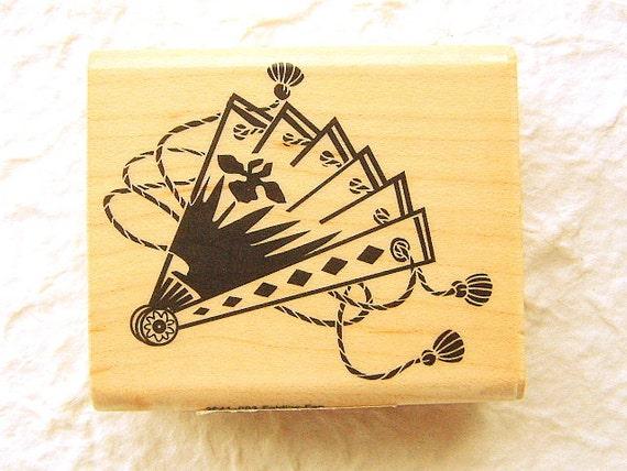 Japanese Rubber Stamp Folding Fan