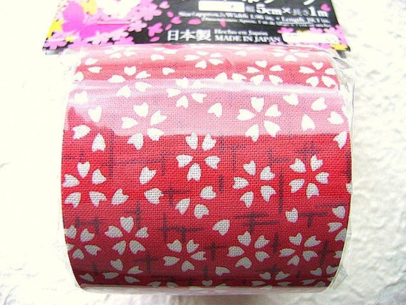 Japanese Flower Fabric Tape Cherry Blossoms Red