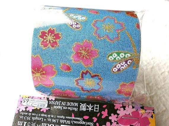 Japanese Fabric Tape Cherry Blossoms Flower Blue