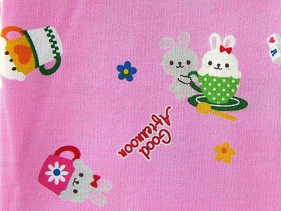 Cute Japanese Cotton Fabric- Cute Rabbits in Tea Cup (F167)