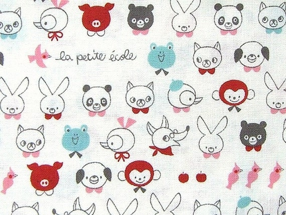 Cute japanese fabric cute animal baby half by for Cute baby fabric