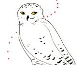 ACEO - Original - Snow Owl Love
