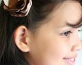 Chocolate Eclair Satin Flower Hair Clip
