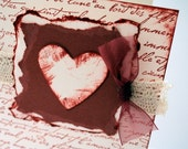 Dark Red and Cream Greeting Card ''Tattered Heart''