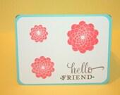 "Coral and Aqua simple retro mod floral greeting card ""Hello Friend"""