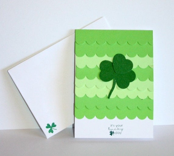 Green Scallped St. Patrick's Day Shamrock Card