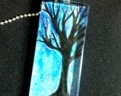 Winter Tree Rectangular Glass Pendant