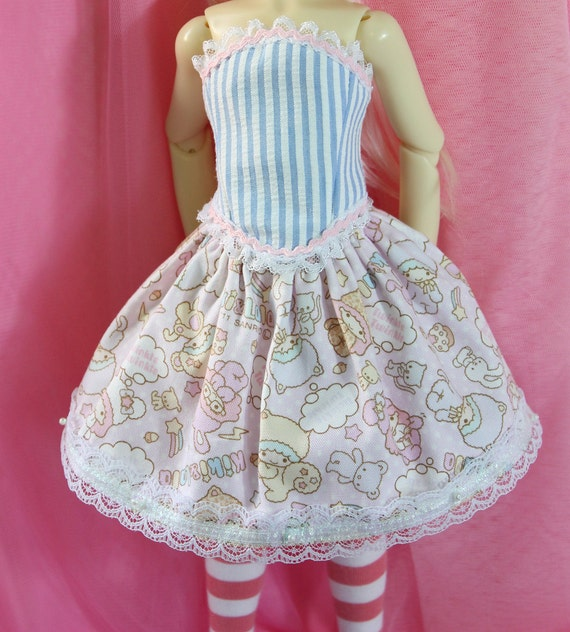 Skirt for MSD BJDS also fits Kaye Wiggs Cute Sweet Lolita Sanrio Twin Stars  Kiki and Lala Fairy Kei