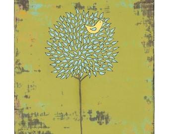 Blue Tree and Bird Print