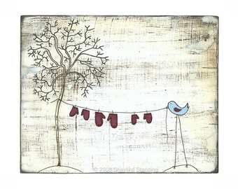 Blue Bird and Red Mittens Print