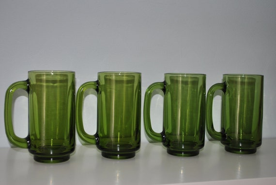 Vintage Green Glass Tall Mugs. Set of 4. Beer, Serving, Picnic, Fathers Day
