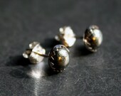 Gold Rush - Sterling Silver and Iron Pyrite Stud Earrings