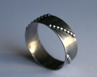 Segment - Sterling Silve Wide Band Ring in Oxidized Finish - Ready to Ship in Size 6.5