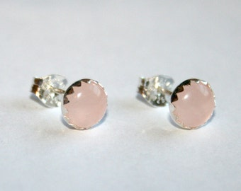 Rose - Sterling Silver and Rose Quartz Stud Earrings