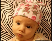 RockerByeBeanies Newborn Baby girl knit skull cap hat beanie Parlay Pink and lime green Skull and crossbones adn stars