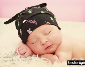 RockerByeBeanies Newborn Baby knit skull cap hat beanie Black with Pink and green Skulls for your baby girl