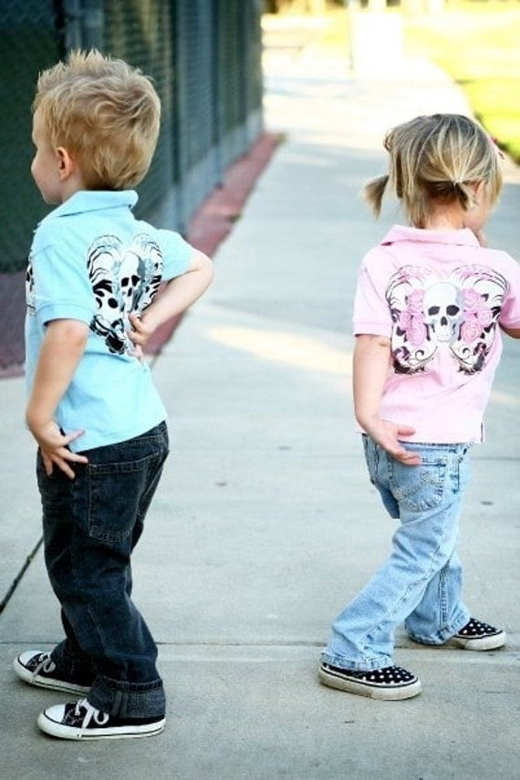 Punk Rock Boys Blue Skulls Polo Toddler Blue polo with Blue Skulls Size 2, 4t, 5/6 child Tori Spelling