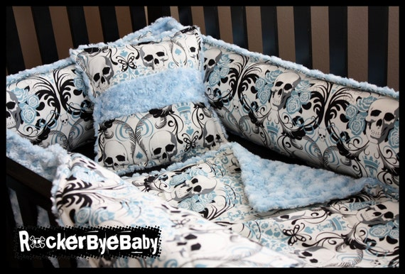 Custom Punk Baby Crib Bedding Set You Choose The Fabric Skull