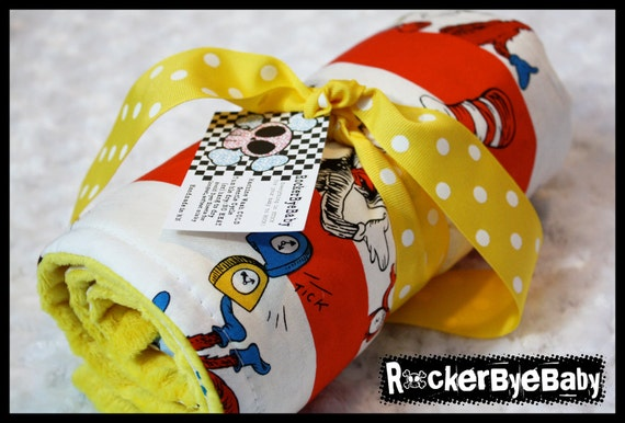CUSTOM Patchwork Dr. Seuss baby or toddler blanket Yellow Red Green boy or girl with your choice of MINKY